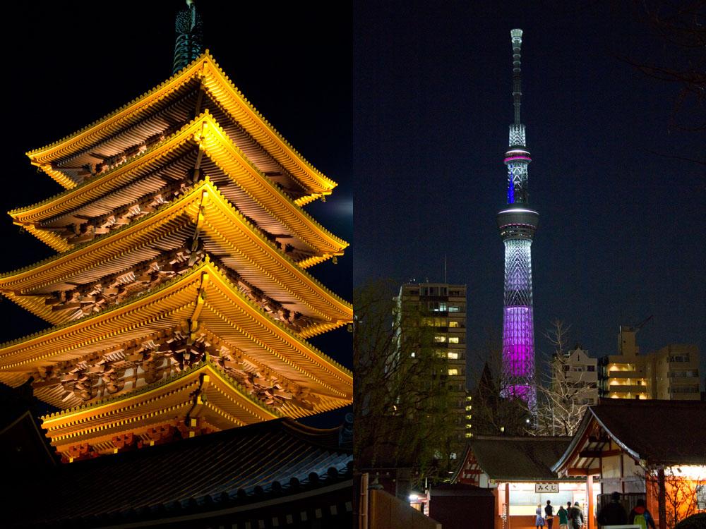 夜になると別の顔を見せる浅草寺(左)。隅田川の向こうのスカイツリーのライトアップも見られる(右)