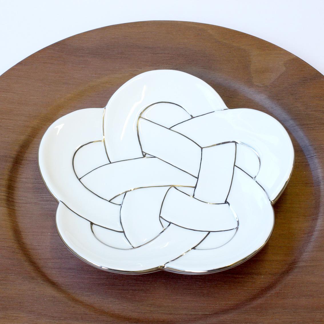 梅むすび銘々皿 プラチナ線