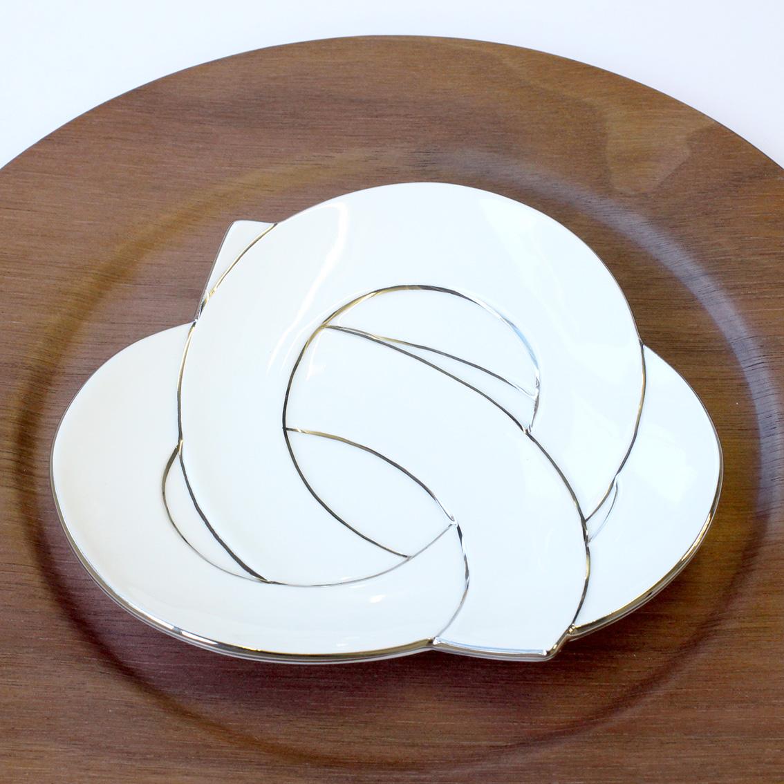 むすび銘々皿 プラチナ線