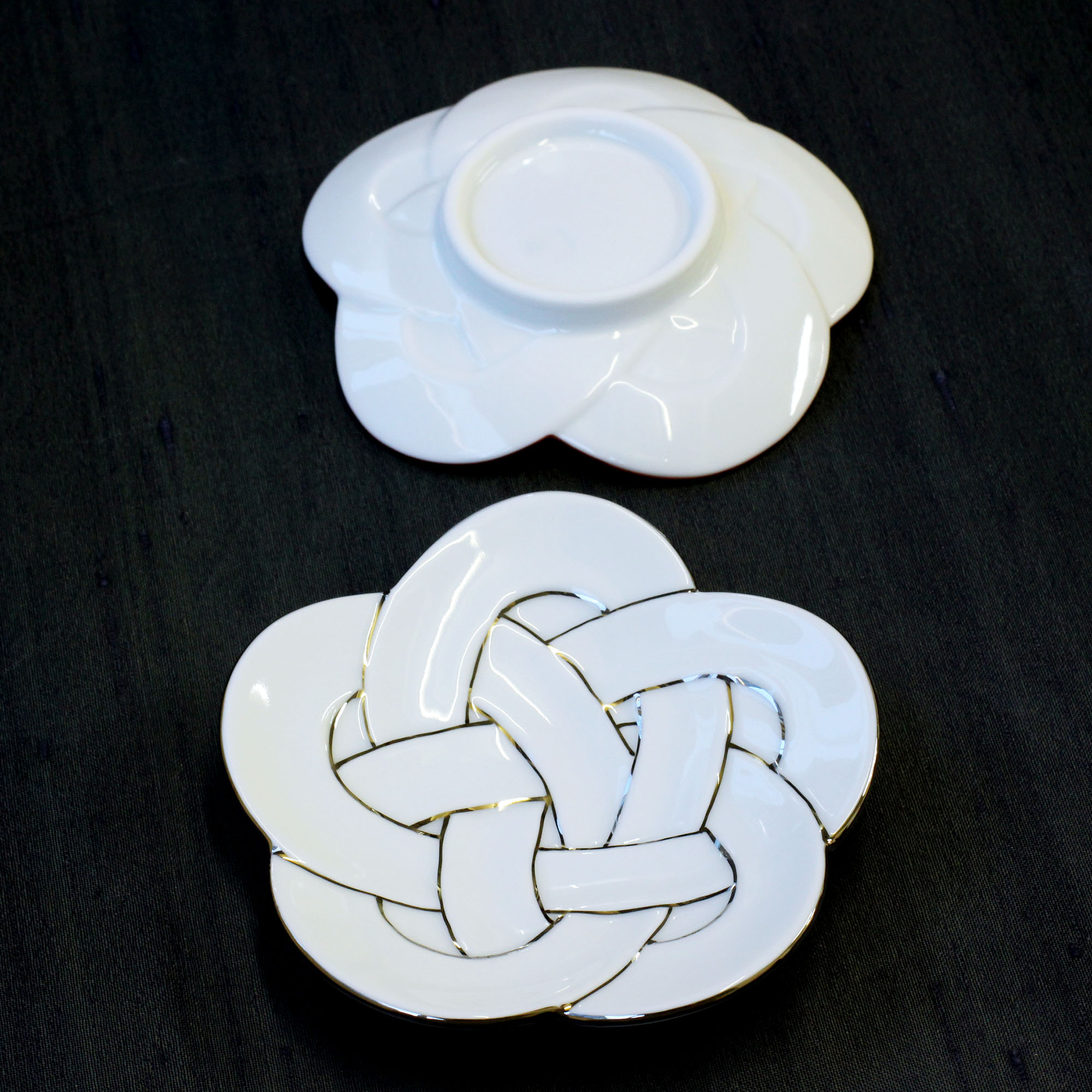 梅むすび小皿 プラチナ線