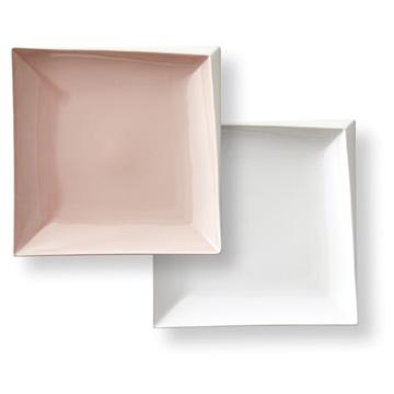 京マシュマロ スクエアプレートペア ピンク/ホワイト